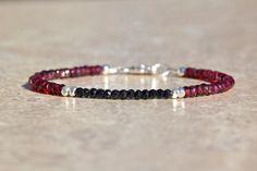 January Birthstone Bracelet, Garnet Birthstone, Spinel Gemstones, Gemstone Bracelet, Hill Tribe Silver Bracelet, Valentines Gift for Her