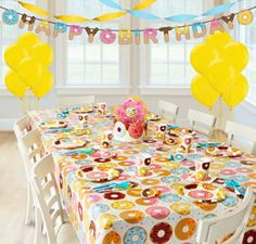 Throw a delightful donut party with a Donut Super Party Kit for 8 Guests. Includes donut plates, tableware, and matching donut party decorations. Donut Birthday Parties, Birthday Bash, Birthday Party Themes, Birthday Ideas, Third Birthday, 13th Birthday, Party Kit, Party Ideas, Party Party
