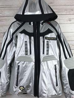 05be5e899de Descente Titan Thermo Silver Black Hooded Ski Parka Jacket Mens XL