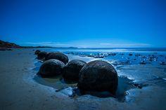 Moeraki Boulders, Oamaru, New Zealand photo by Paul le Compte at Moeraki Boulders, An Unexpected Journey, Kiwiana, Blue Hour, South Island, Rock Climbing, Landscape Photographers, Bouldering, Egypt