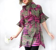 Hand printed tunic dress graphic abstract vintage style dark pink boho wearable art dress by Misskarret, $167.00