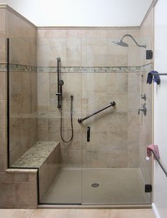Beautiful Bathroom Shower Remodel Ideas 36 In any bathroom remodeling, the task most often starts with the shower or bathtub. Redesigning the shower or tub can […] Ada Bathroom, Handicap Bathroom, Bathroom Layout, Bathroom Remodeling, Remodel Bathroom, Bathroom Ideas, Bathroom Showers, Tile Showers, Bathroom Makeovers