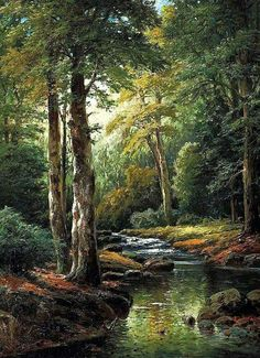 The Forest Stream - Cross stitch pattern - Embroidery cross . - The Forest Stream – Counted cross stitch pattern in PDF format by Maxispatterns on Etsy Landscape Art, Landscape Paintings, Landscape Photography, Nature Photography, Photography Ideas, Photography Shop, Photography Essentials, Photography Supplies, Forest Landscape