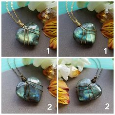 This listing is for one of the Labradorite gemstone heart necklaces pictured above. Each necklace features a flashy, Labradorite heart stone elegantly wrapped in antique brass, gold, or silver-plated wire. The pendant is reversible, with two different wrapping patterns on each side, one