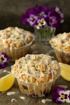Bakery Style Blueberry-Lemon Muffins - the kind of muffins you find at a gourmet bakery sh. - My Hobbies Lemon Blueberry Muffins, Blue Berry Muffins, Blueberry Oatmeal, Oatmeal Muffins, Cupcakes, Cupcake Cakes, Bunt Cakes, Gourmet Bakery, Devon