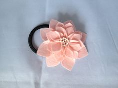 Light Pink Felt Flower Ponytail Holder by Lilica on Etsy, $7.99