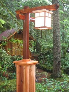 Craftsman lamp post with copper light