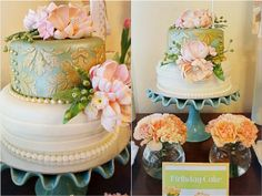 Vera's Peach and Green Shabby Chic Themed Party – Birthday Peach And Green, Party Cakes, Party Themes, Bridal Shower, Shabby Chic, Table Decorations, Simple, Birthday, Knot