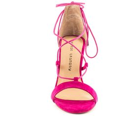 Chinese Laundry Women's Jambi - Shocking Pink Kid Suede ($105) ❤ liked on Polyvore featuring shoes, pink stilettos, chinese laundry shoes, sexy high heel shoes, sexy shoes and lace up shoes