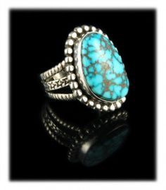 Stars and Stripes Kingman Turquoise Ring by Dillon Hartman.  This awesome handmade Sterling Silver ring features a top gem grade natural Kingman Spiderweb Turquoise cabochon from Arizona.