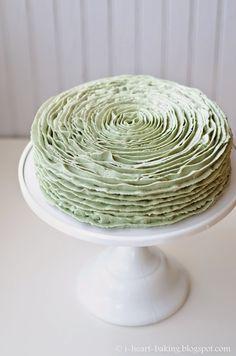 matcha green tea ruffle cake