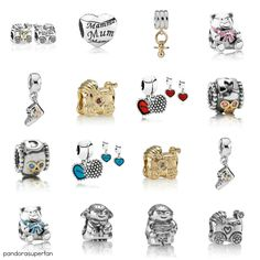 Collage created from photos from pandora.net Selection of charms to give a new mum including Princess Kate!
