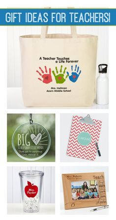 LOVE These personalized teacher gift ideas! They have tons of great gift ideas for teacher appreciation week or thank you gifts for the end of the year!