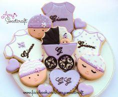 Baby shower cookies in purple