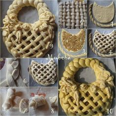 ♡♡ I don't know what country these decorative pastry and bread Pins come from, but they're so beautiful, and from such a simple food. Bread Recipes, Baking Recipes, Pies Art, Bread Shaping, Bread Art, Berry Tart, Food Garnishes, Food Decoration, Sweet Bread