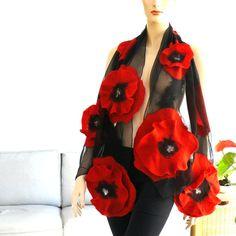 Нуно войлочный шарф - большой шарф - шерсть и шелк - красный и черный шарф