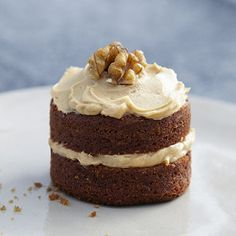 Mini Coffee and Walnut Cakes. It could be cute to do some mini cakes like this? Maybe for the parties?