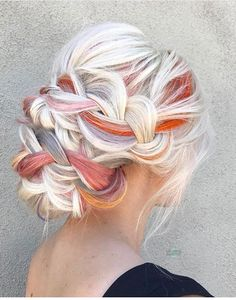 Platinum Blonde White & Orange Lavender Grey Hair - Hair Tips Hair Dye Colors, Cool Hair Color, Bright Hair Colors, Colorful Hair, Lavender Grey Hair, Lilac Hair, Hairdo For Long Hair, Long Hair Hairdos, Short Hair