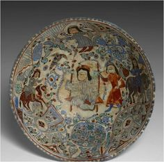 A KASHAN MINAI CERAMIC BOWL PAINTED IN ENAMELS WITH A COURT SCENE, 12TH-13TH CENTURY .Ancient & Islamic Arts from Xavier Guerrand-Hermès Collections