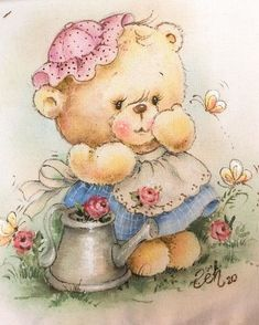 Baby Animals Super Cute, Cute Little Animals, Baby Painting, Fabric Painting, Cute Cartoon Pictures, Cute Pictures, Teddy Bear Drawing, Teddy Bear Pictures, Decoupage Vintage