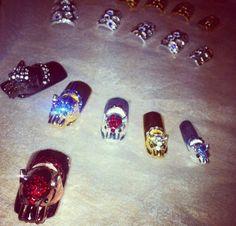 Metal, gold and silver Swarovski nails ~ Instagram Swarovski Nails, Metal, Silver, Gold, Beautiful, Instagram, Jewelry, Jewlery, Jewerly