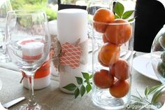 Oranges and limes as table decoration centerpieces