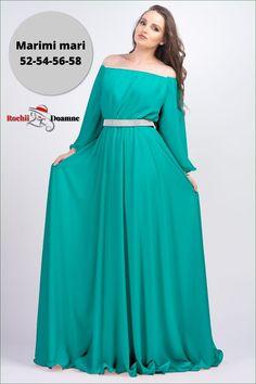 Pentru tinute elegante necesare la ceremonii precum nunti, cununii sau botezuri ai nevoie de o rochie lunga de seara. Noi iti propunem o rochie lunga din voal cu strasuri aplicate in zona taliei si la decolteu. Rochia are decolteu tip barcuta si poate fi purtata peste umeri. Manecile rochiei sunt lungi si largi astfel incat sa te bucuri de o tinuta chic dar lejera in acelasi timp. Formal Dresses, Fashion, Green, Dresses For Formal, Moda, Formal Gowns, Fashion Styles, Formal Dress, Gowns