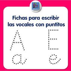 Colección de fichas de escritura de vocales para descargar e imprimir gratis. Esta primera colección está dedicada a las vocales A, E, I con puntitos.