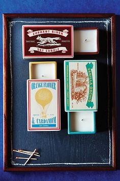 I really like these matchbox candles. I think one would look super cute on the coffee table or a side table, if we had a side table.