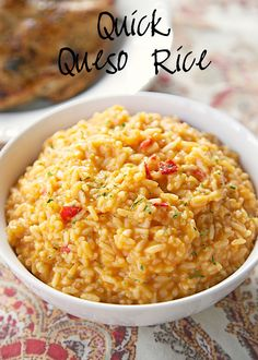 Quick Queso Rice Recipe - fiesta cheese soup, instant rice, salsa, and cheese - ready in 10 minutes! Great Mexican side dish!