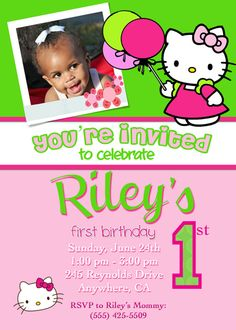 Custom party invitations designed to match the theme of your party. All invitations are completely customizeable and came be modified to match your taste. Custom Party Invitations, Photo Invitations, Birthday Party Invitations, Birthday Parties, Hello Kitty Invitations, Hello Kitty Photos, Hello Kitty Birthday, Kitty Party, First Birthdays