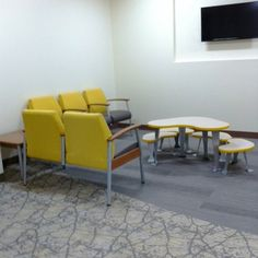 Bean with Bright Yellow PVC Edge, RAL 1003 | Spec Furniture