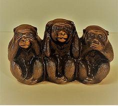 2.25 X 4″ Vintage Brass Three Wise Monkey Three Wise Monkeys, Third, Bronze, Brass, Sculpture, Animals, Facebook, Vintage, Animales