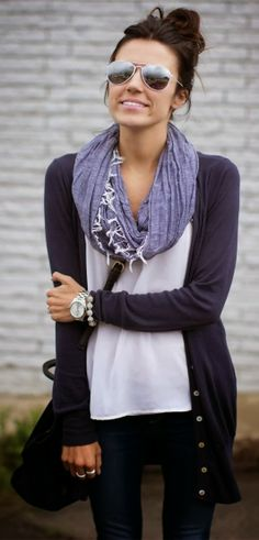 BESPOKE VICTIM: Cardigan With Casual Shirt Scarf and Jeans
