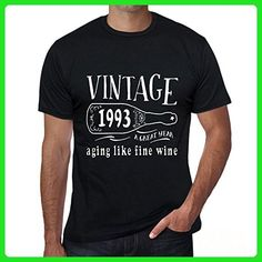 1993 Aging Like a Fine Wine Men's T-shirt Black Birthday Gift - Food and drink shirts (*Amazon Partner-Link)