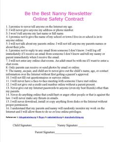 29 best essential nanny paperwork images on pinterest in 2018 online safety contract nannies au pairs children and parents agree that there maxwellsz