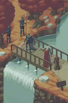 White Haired Knight/Lord with a Red Haired Lady Talking to a Knight/Lord and Guard on a Wooden Bridge | Waterfall