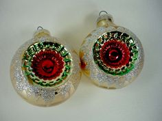 Vintage Glass Christmas Ornaments Indented by ChromaticWit on Etsy, $9.99