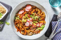 Fragrant Chicken Laksa - Cook Now! Recipe | HelloFresh Chicken Laksa, Yaki Udon, Pickled Radishes, Udon Noodles, Stuffed Mushrooms, Stuffed Peppers, Toasted Sesame Seeds, Curry Paste, Rice Vinegar
