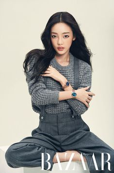 Hara posing in a photo shoot for Harper's Bazaar Magazine October Issue 2014.