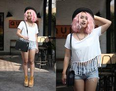 Chanel Necklace, Asos Top, Topshop Shorts, Chanel Bag, Jeffrey Campbell Platforms