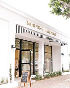 Morning Lavender is a chic cafe in Tustin, CA with delicious coffee & tea drinks, and a modern twist on Afternoon Tea! Boutique Interior, Boutique Design, Cafe Interior, Coffee Shop Design, Cafe Design, Store Design, Store Front Design, Boutique Store Front, Retail Facade