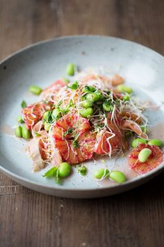 Blood Orange, Smoked Salmon and Edamame Salad with Mint Dressing