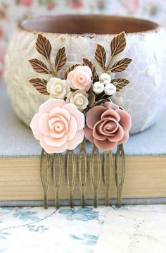 Wedding Hair Comb Dusty Pink Rose Comb Bridal