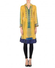 Sunflower Yellow Printed Tunic with Blue Hem