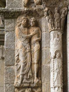 Romanesque Adam and Eve, Platerias facade, Saint James Compostela Cathedral