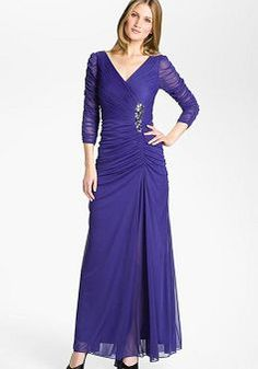 Vintage Chiffon A-Line V-neck With Crystals ¾ Length Sleeves Evening Dress Purple Evening Dress, Evening Dresses With Sleeves, Evening Gowns, Chiffon Dresses, Evening Party, Red Bridesmaid Dresses, Homecoming Dresses, Bridal Dresses, Bridesmaids