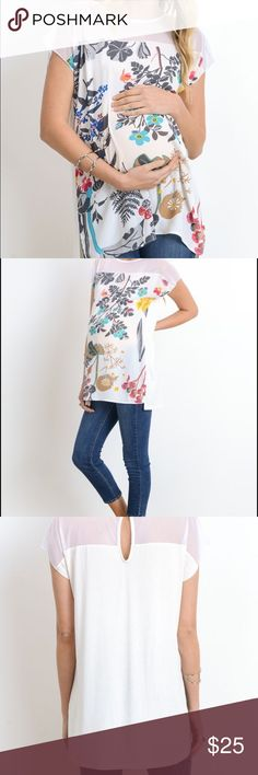 Capsleeve Print Maternity Top This maternity top by Hello MIZ is beautiful and great for spring and summerwear!  You will be cute,  cool  and comfortable when you wear this top. It is made of 100% polyester.  Pair it with long jeans or capris and some cute sandals for a great look! Hello MIZ Tops