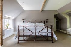 Neutral tones, natural materials, sisal flooring, leather and iron bed frame Bedroom Styles, Bedroom Designs, Farrow And Ball Paint, Stylish Bedroom, Carriage House, Bed Frame, Vintage Furniture, Toddler Bed, Victorian