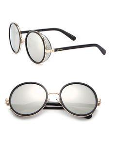 ecd742a1541 Jimmy Choo Andie Glitter-Trim Round Sunglasses